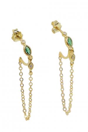 hoop-guld-med-kæde-og-grøn-zirkon-